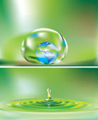 Earth in drop of water — Stock Vector