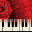 Stock Vector: Red rose and piano melody