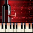 Stock Vector: Piano melody and wine