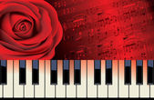 Red rose and piano melody — Stock Vector