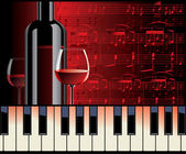 Piano melody and wine — Stock Vector