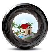 Professional photo lens — Stock Vector