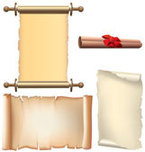 Blank old scroll paper set — Stock Vector