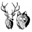 Deer and wolf - Stock Vector