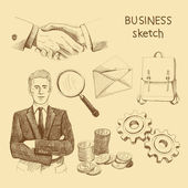 Sketch business elements — Stock Vector