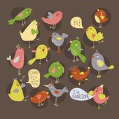 Group of birds singing — Stock Vector