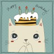 Stock Vector: Cute cat, happy birthday card