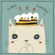 Cute cat, happy birthday card — Stock Vector #26081587