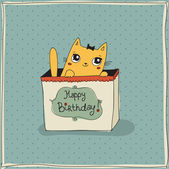 Cute cat, happy birthday card — Stock Vector