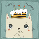 Cute cat, happy birthday card — Stock Vector