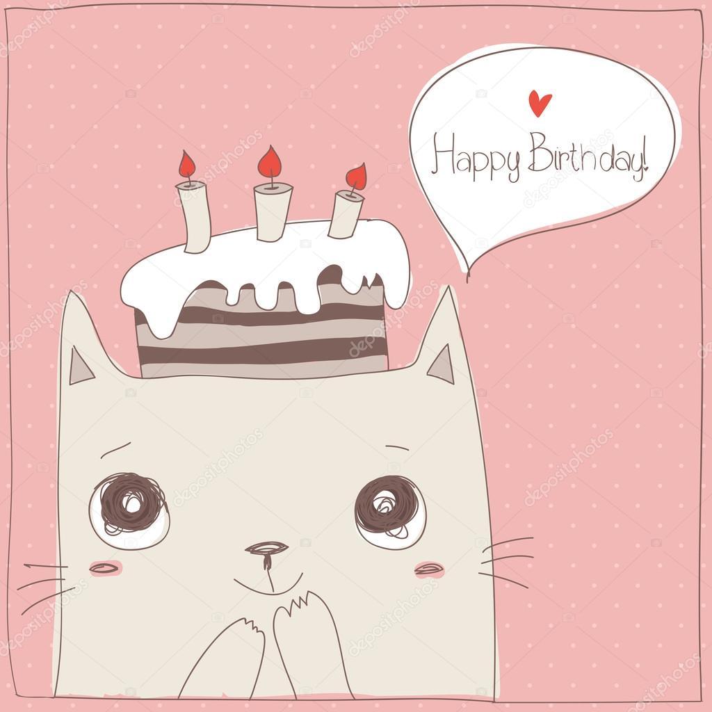 可爱的猫咪,生日快乐贺卡
