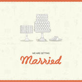 Beautiful vector wedding background with cakes — 图库矢量图片