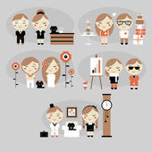 Illustration of man and woman in vector. set — Stock Vector
