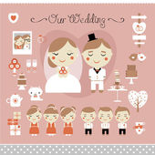 Cute vector set of wedding, love and sweets — Stock Vector
