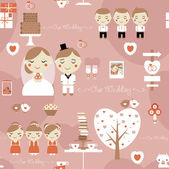 Seamless pattern of cute wedding — Stock Vector