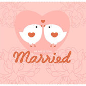 Bird wedding card — Stock Vector