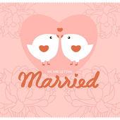 Bird wedding card — Stock Vector