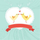Greeting card with birds (wedding, birthday, valentine) — Stok Vektör