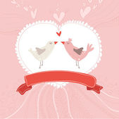 Greeting card with birds (wedding, birthday, valentine) — Stock Vector