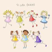 Seamless cute fairies illustration decorative background pattern — Stock Vector