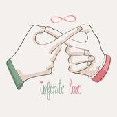Doodle hands making infinity symbol. Infinite love. — Stock Vector