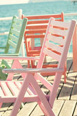 Beach chair on the berth — Stock Photo
