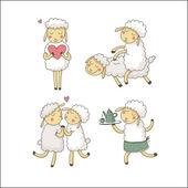 Cute sheeps in love — Stock Vector