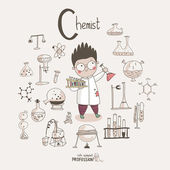 Cartoon chemist — Stock Vector