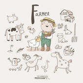 Profession alphabet F - Farmer — Stockvektor