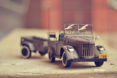 Toy U.S. Army Jeep with trailer — Stock Photo