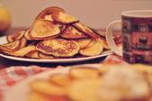 Homemade pancakes with tea — Stock Photo