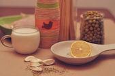 Lemon, milk and garlic — Stock Photo