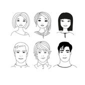 Set of people faces — Stock Vector