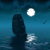 Ship sailing and the moon — Stock Photo