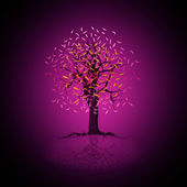 Purple scenery with a flowering tree — Stock Photo