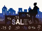Sale in city — Stockfoto