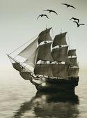Güzel bir manzara karşı yelkenli — Stok fotoğraf