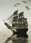 Sailboat against a beautiful landscape — Fotografia Stock