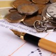 Ink pen money and watch  — Stockfoto