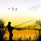 Silhueta de pescador — Fotografia Stock