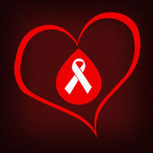 Aids awareness red ribbon and heart — Stock Photo