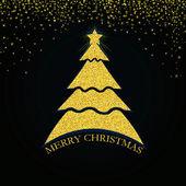 Tarjeta de felicitación con oro árbol de navidad — Foto de Stock