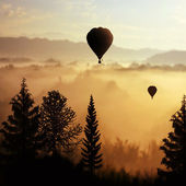 Landscape with balloons — Stock Photo
