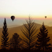 Paisaje con globos — Foto de Stock