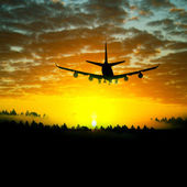 Landscape with airplane — Stock Photo