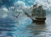 Segelbåt på havet — Stockfoto