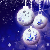 Snowflakes, Christmas balls and rime on blue — Stock Photo