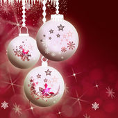 Snowflakes, Christmas balls and rime on red — Stock Photo