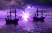 Navios no mar — Fotografia Stock