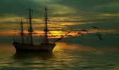 Ship on sea — Stock Photo